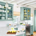 Kitchen, White Marble Top, Green Wooden Cabinet And Cupboard, White Wall, White Wooden Ceiling And Beams, White Pendant