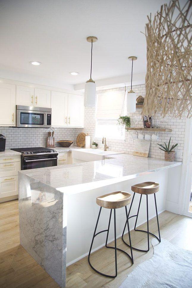kitchen, white upper bottom cabinet, wooden floor, white pendants, wooden stools
