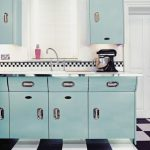 Kitchen, White Wall, Blue Cabinet, White Top, Silver Handler