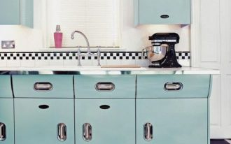 kitchen, white wall, blue cabinet, white top, silver handler