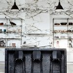Kitchen, White Wooden Floor, White Marble Wall, Black Pendants, Black Marble Island, Black Stools, Shelves