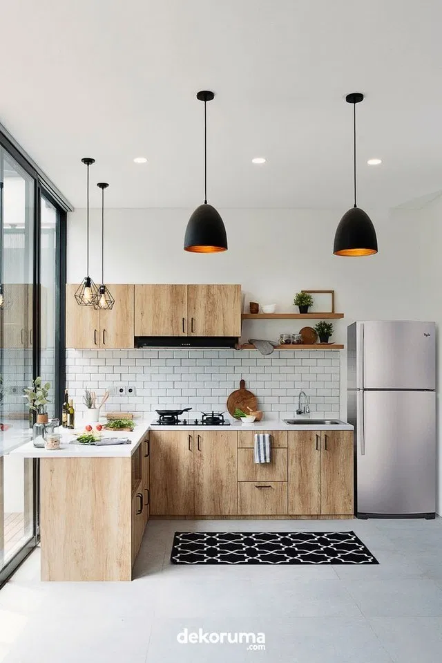 kitchen, wooden cabinet, whtie subway backsplash, white floor, black pendants, modern framed pendants