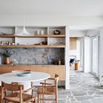 Kitchen, Wooden Cabinet, Wooden Shelves, Marble Backsplash, White Round Table, Wooden Chairs, White Pendant