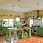 Kitchen, Wooden Floor, Brown Wall, Green Cabinet, Green Island, Silver Hood, White Framed Window, Whie Stool, Pendants