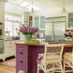 Kitchen, Wooden Floor, White Bottom Cabinet, White Wall, Wooden Top, Purple Wooden Island, White Pendants, White Rattan Stools