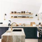 Kitchen, Wooden Floor, White Wall, Dark Green Cabinet, Marble Island, Wooden Floating Shelves,