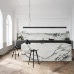 Kitchen, Wooden Floor, White Wall, White Marble Kitchen Island, Black Cabinet, Black Stools