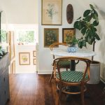 Kitchen, Wooden Floor, White Wall, White Marble Round Table, Bamboo Chairs ,white Plant Pot