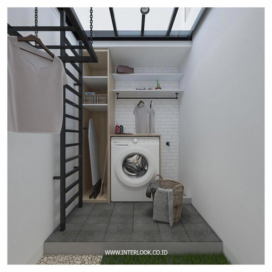 laundry room, grey floor tiles, white wall tiles, white wall, glass ceiling, black iron net and rack, wooden cabinet, white shelves