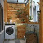 Laundry Room, Grey Floor Tiles, Wooden Wall, Wall Tiles