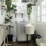 Laundry Room, Wooden Floor, White Wall, Ironing Table, White Baasket,
