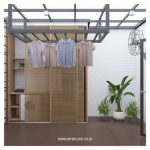 Laundry Space, Brown Floor, White Subway Tiles, Wooden Cabinet With Sliding Door