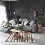 Living Room, Black Wall, Grey Sofa, White Seamless Floor, Wooden Bench, Wooden Pot