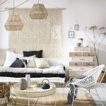 Living Room, White Floor, White Wall, Cushions, Fringes, White Rattan Chair, Rattan Coffee Table, Rattan Pendant, Cabinet