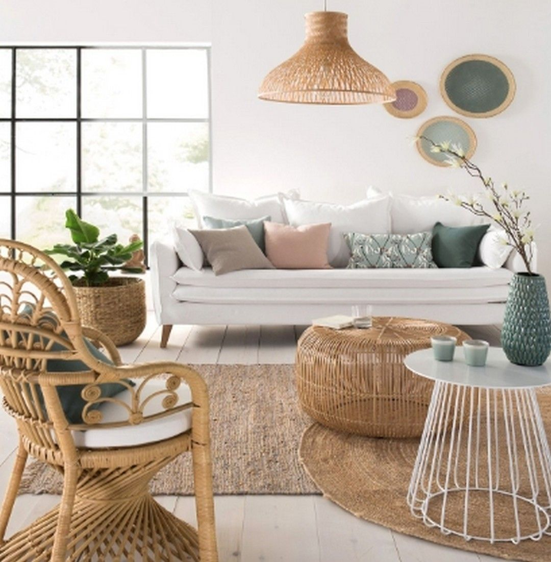 living room, white wooden floor, white wall, white sofa, rattan chair, rattan coffee office, rattan pendant, white round side table