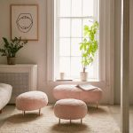 Living Room, Wooden Floor, Brown Rug, Pink Stools