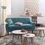 Living Room, Wooden Floor, Green Sofa, White Nesting Round Table, Wooden Cabinet