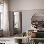 Living Room, Wooden Floor, Grey Rug, White Wall, Green Velvet Sofa, Glass Coffee Table, Round Mirror, Black Cabinet
