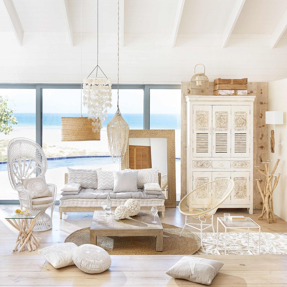 living room, wooden floor, white cabinet, white sofa, wooden coffee table, rattan chair, white rattan chair, rattan pendants