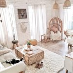 Living Room, Wooden Floor, White Rug, White Sofa, White Exposed Wall, Rattan Chair, Rattan Swing, Wooden Coffee Table