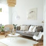 Living Room, Wooden Floor, White Wall, Grey Sofa, White Rug, Rattan Pendant, White Coffee Table, Rocking Chair