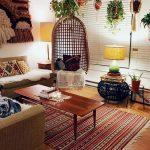 Living Room, Wooden Floor, Wooden Coffee Table, Rattan Swing, Brown Sofa, Patterned Rug,
