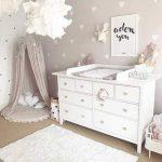 Nursery, Brown Floor, White Rug, White Cabinet, Grey Canopy, White Pendants