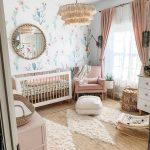 Nursery, Rattan Rug, White Patterned Wall, Fringe Pendant, White Wooden Crib, Pink Chair, White Ottoman, White Cabinet, White Rocking Chair, Pink Cabinet