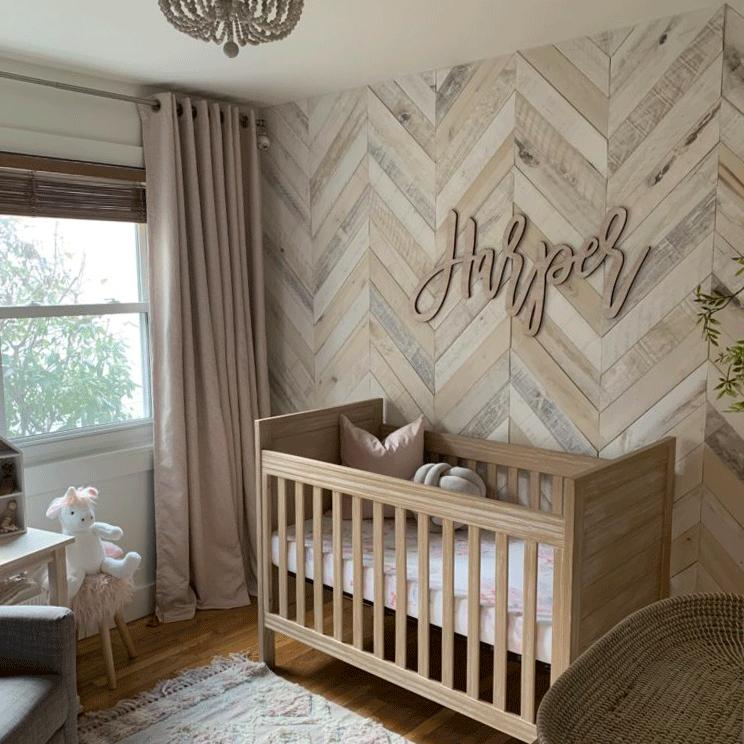 nursery, wooden floor, wooden wall, wooen crib,