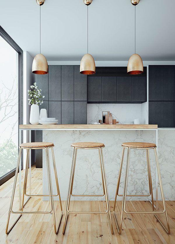 open kitchen, black upper cabinet, white marble island with wooden top, golden wooden stools, golden pendants
