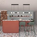 Open Kitchen, Green Wall, White Black Pendants, Pink Floating Shelves, Pink Island With Terazzo Top