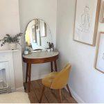 Oval Wooden Desk, Mirror, Brown Schair