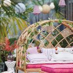 Patio, Grey Floor Tiles, Rattan Bench With Curve Frame, Rattan Bench With Pink Cushion