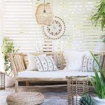 Patio, Grey Floor Tiles, White Wooden Grid, Rattan Ceiling, Rattan Pendant, Wooden Bench, Rattan Ottoman