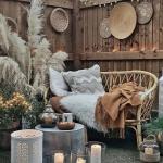 Patio, Grey Floor, Wooden Wall, Silver Round Coffee Table, Rattan Sofa