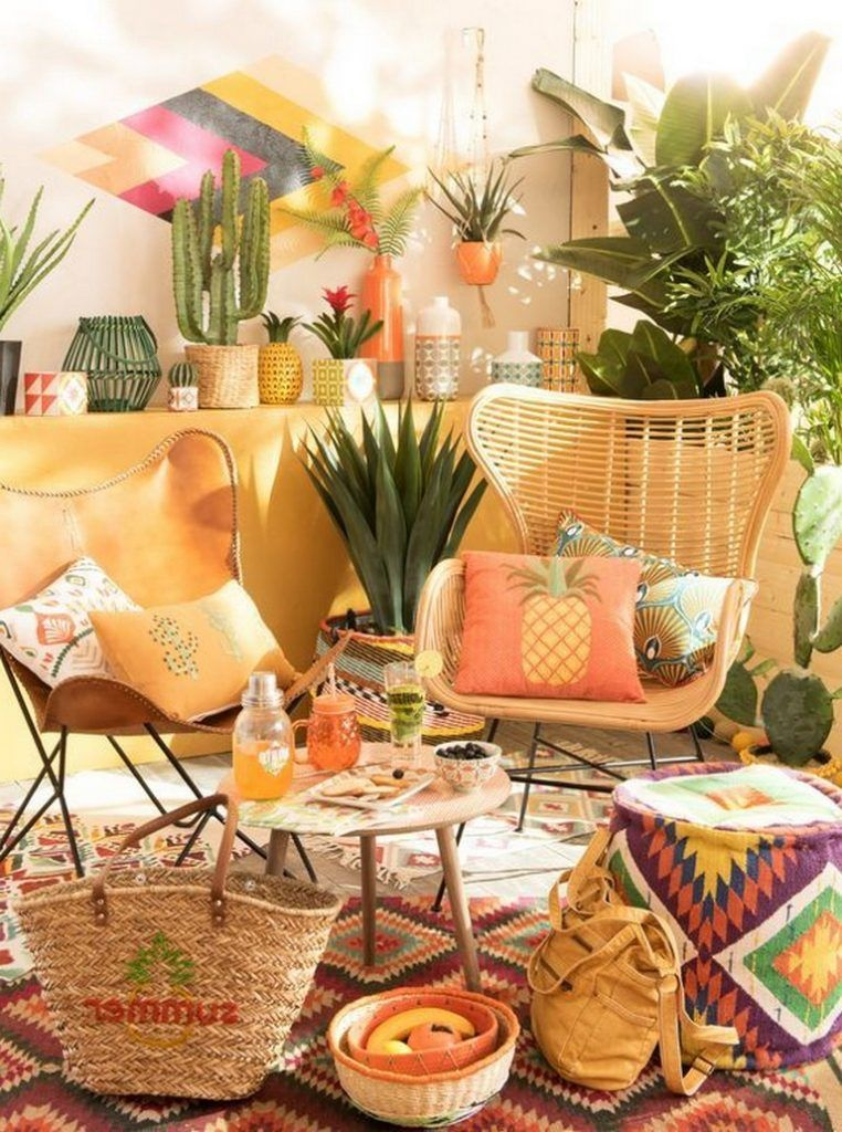 patio, patterned rug, rattan chair, brown leather, wooden coffee table, yellow wall