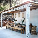 Patio, White Floor, White Wall, Wooden Ceiling, Wooden Long Table, Wooden Bench, Rattan Chair, Rattan Pendants