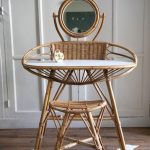 Rattan Desk With Curve, Rattan Stool, Small Round Mirror