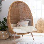 Rattan Woven Chair With White Cushion