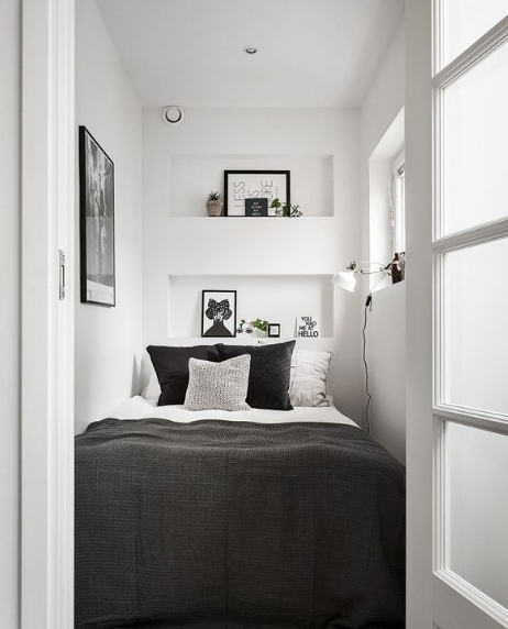 small bedroom, white wall, small bed, shelves nook