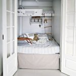 Small Bedroom, White Wall, White Framed Glass Door, White Floating Bed, White Wall