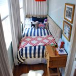 Small Bedroom, Wooden Floor, White Wall, Wooden Side Table, Grey Tufted Headboard, Red Pedndant