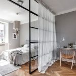 Studio Apartment, Wooden Floor, Grey Wall, Glass Partition, White Curtain, White Rug, White Pendant