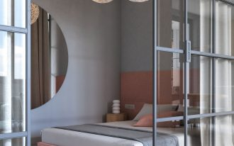 studio apartment, wooden floor, pink bed platform, glass partition, white curtain, round mirror, white large round pendants