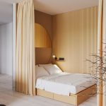 Studio, White Wooden Floor, Wooden Grid Wall, Half Round Mirror, Brown Curtain, Brown Bed Platform With Drawer
