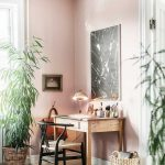 Study, White Wooden Floor, Pink Wall, Wooden Table, Black Chair With Rattan Seat