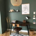 Study, Wooden Floor, Green Wall, Dark Wooden Table, Floating Shelves, Office Chair, Rattan Pendant