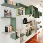 White And Green Wooden Bookshelves, White Wall, Wooden Floor