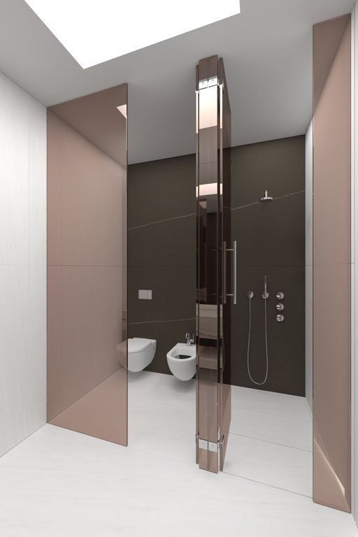 white floating sink, white floating toilet, pink shade glass