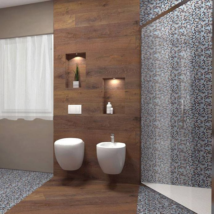 white floating toilet, white floating sink, wooden line accent wall and floor